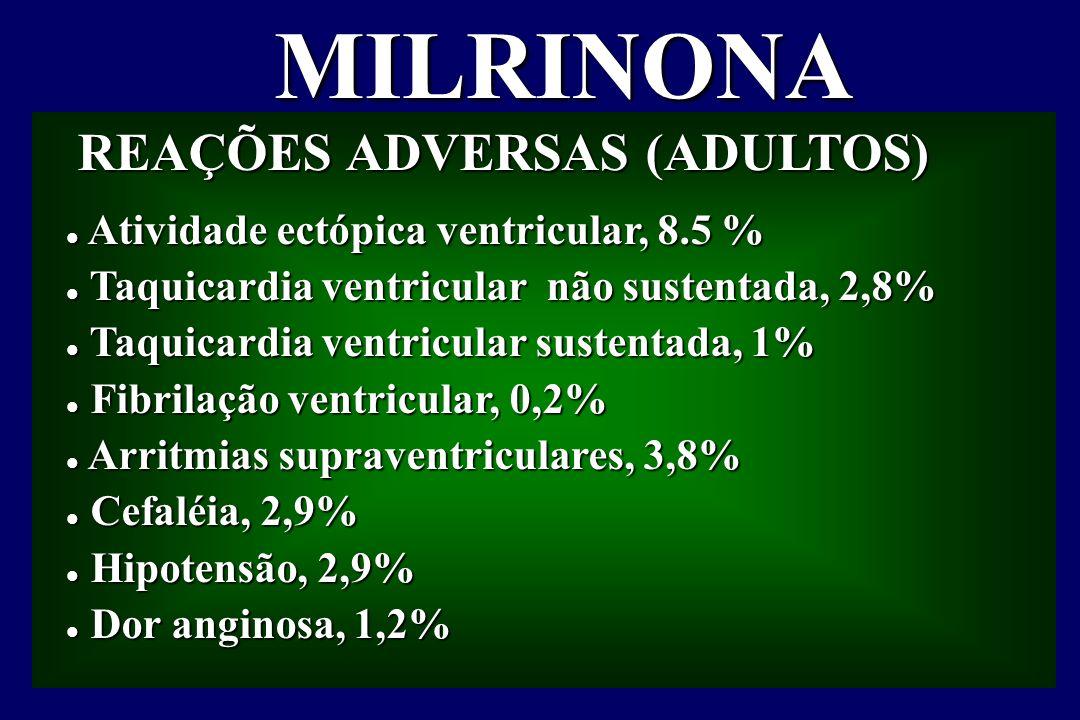 MILRINONA REAÇÕES ADVERSAS (ADULTOS)