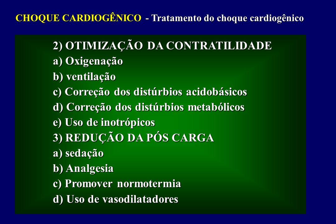2) OTIMIZAÇÃO DA CONTRATILIDADE a) Oxigenação b) ventilação