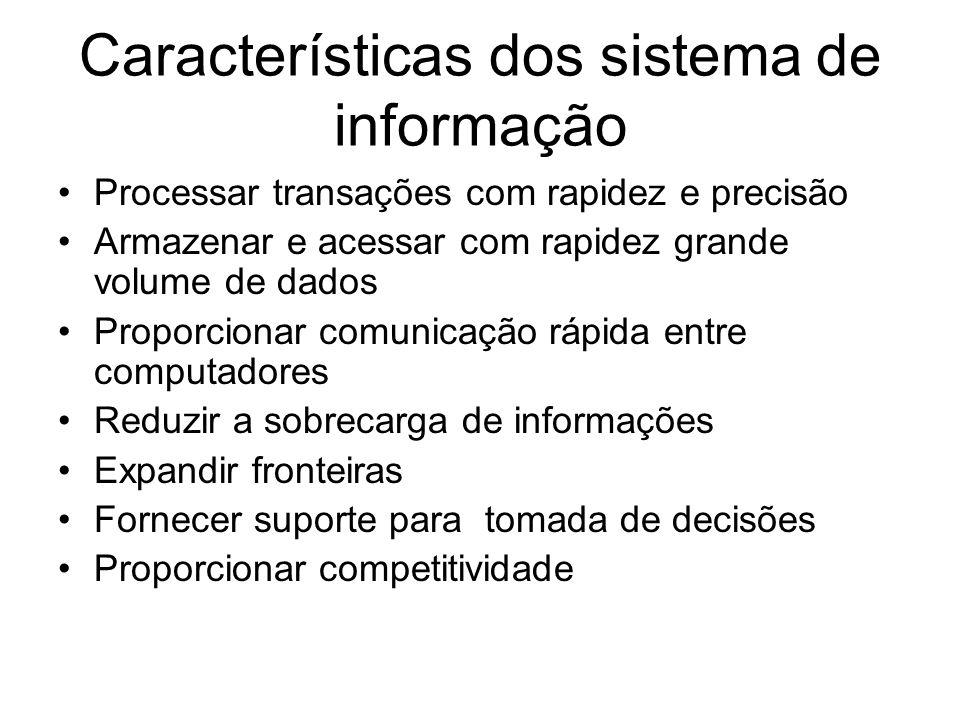 Características dos sistema de informação