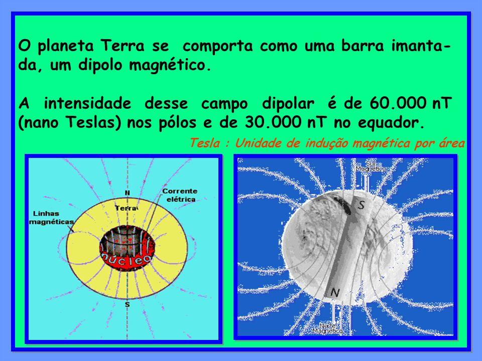 O planeta Terra se comporta como uma barra imanta-da, um dipolo magnético.