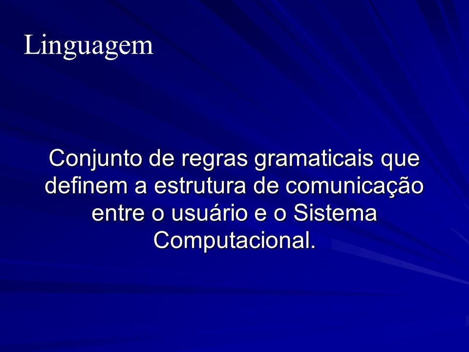 Linguagem Conjunto de regras gramaticais que definem a estrutura de comunicação entre o usuário e o Sistema Computacional.
