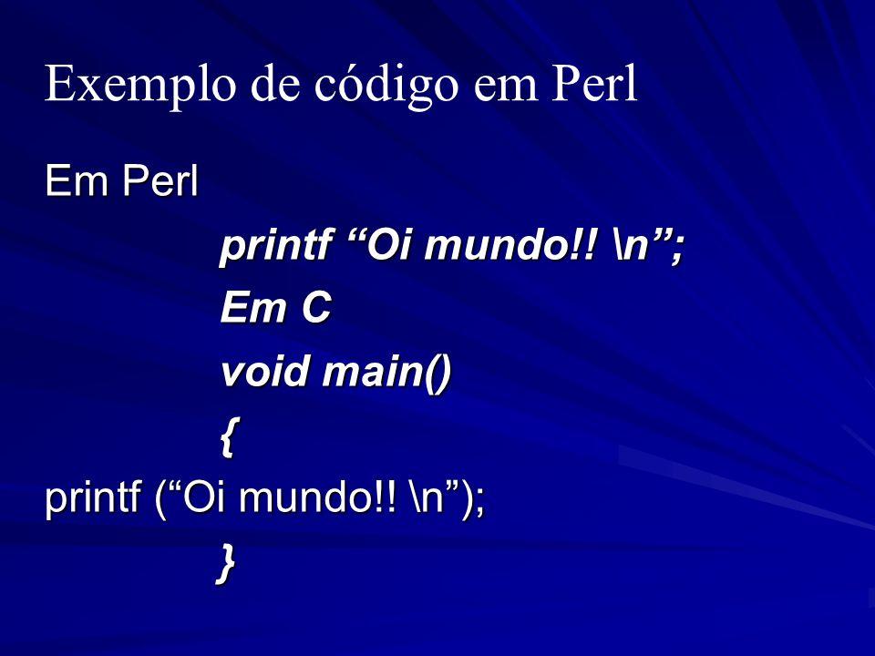 Exemplo de código em Perl