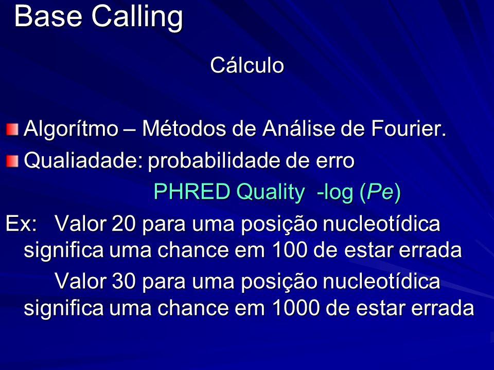 Base Calling Cálculo Algorítmo – Métodos de Análise de Fourier.