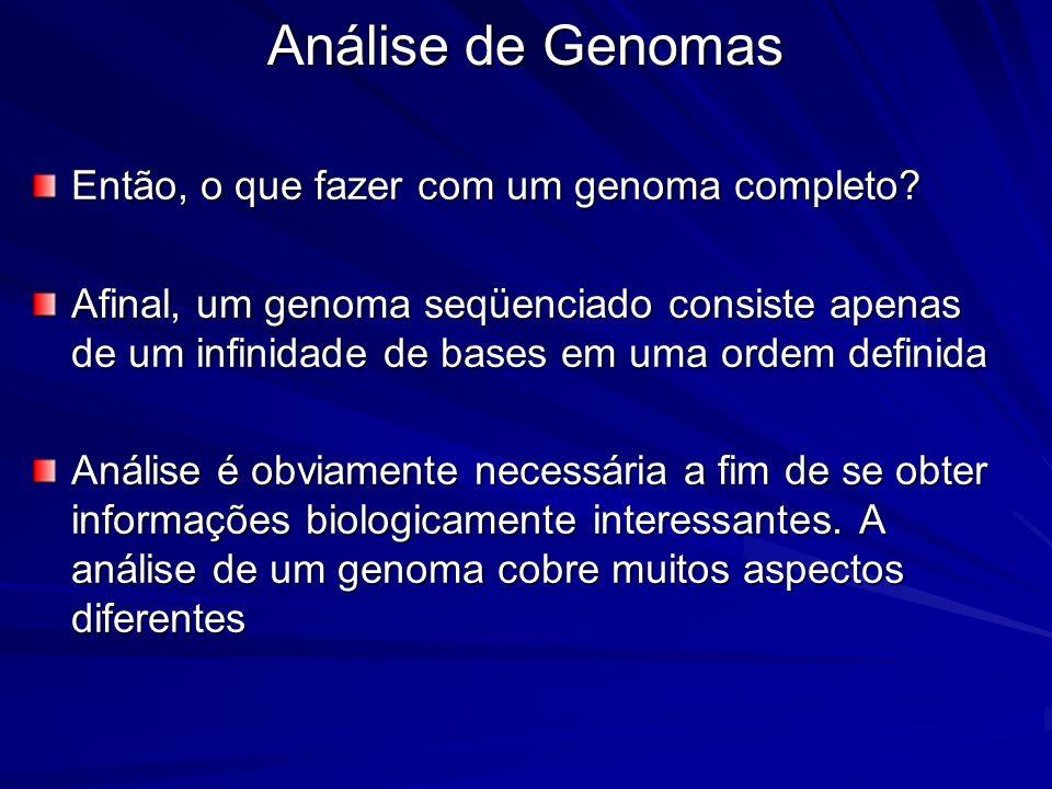 Análise de Genomas Então, o que fazer com um genoma completo