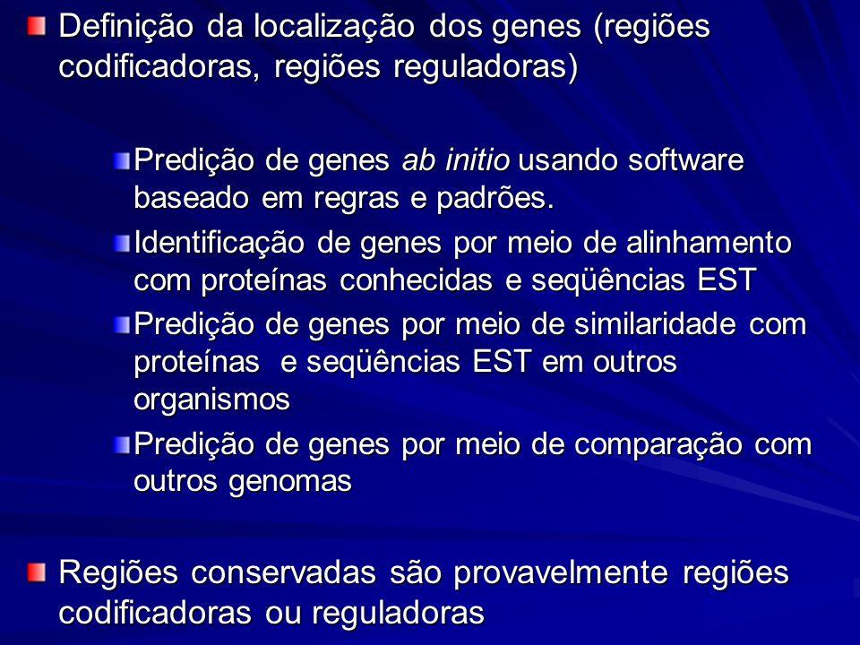 Definição da localização dos genes (regiões codificadoras, regiões reguladoras)