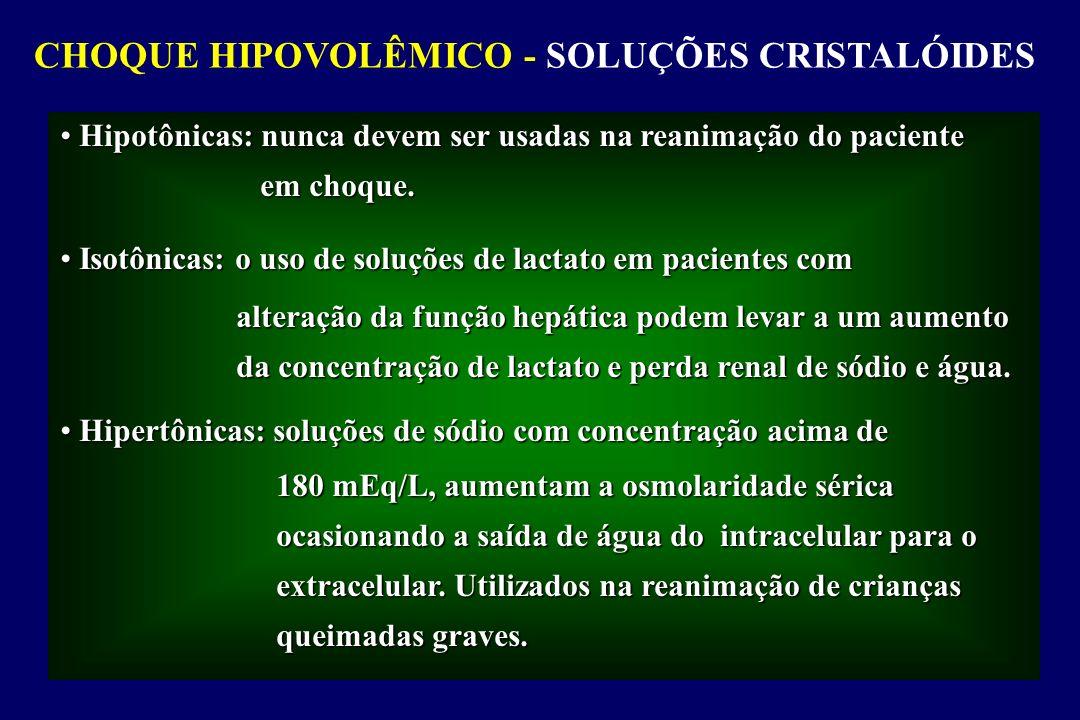 CHOQUE HIPOVOLÊMICO - SOLUÇÕES CRISTALÓIDES