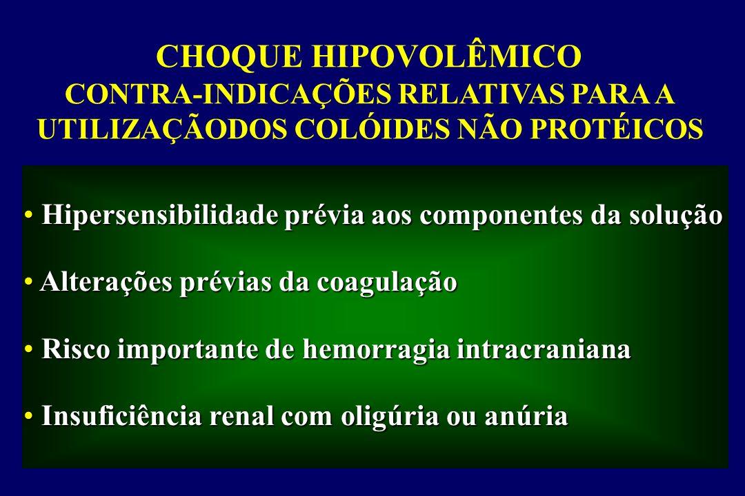 CHOQUE HIPOVOLÊMICO CONTRA-INDICAÇÕES RELATIVAS PARA A