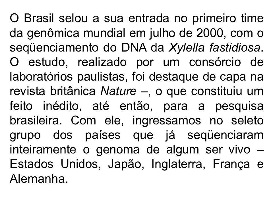 O Brasil selou a sua entrada no primeiro time da genômica mundial em julho de 2000, com o seqüenciamento do DNA da Xylella fastidiosa. O estudo, realizado por um consórcio de laboratórios paulistas, foi destaque de capa na revista britânica Nature –, o que constituiu um feito inédito, até então, para a pesquisa brasileira. Com ele, ingressamos no seleto grupo dos países que já seqüenciaram inteiramente o genoma de algum ser vivo – Estados Unidos, Japão, Inglaterra, França e Alemanha.