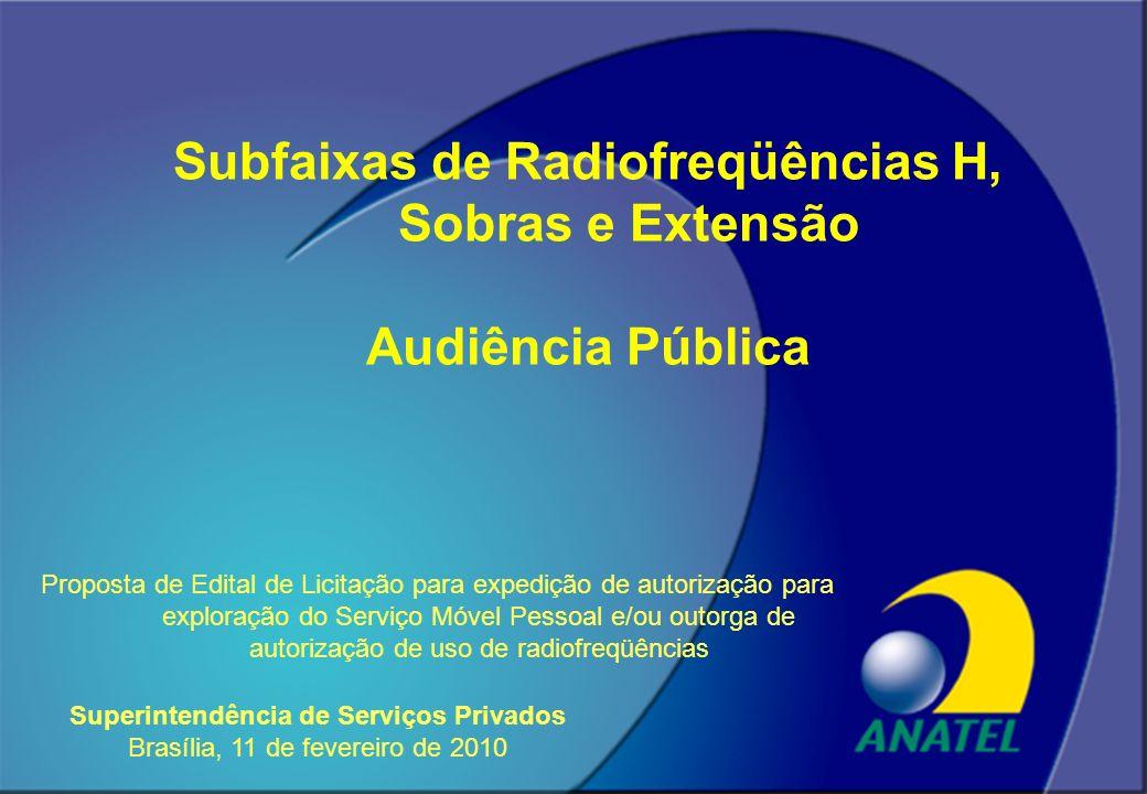 Subfaixas de Radiofreqüências H, Sobras e Extensão Audiência Pública