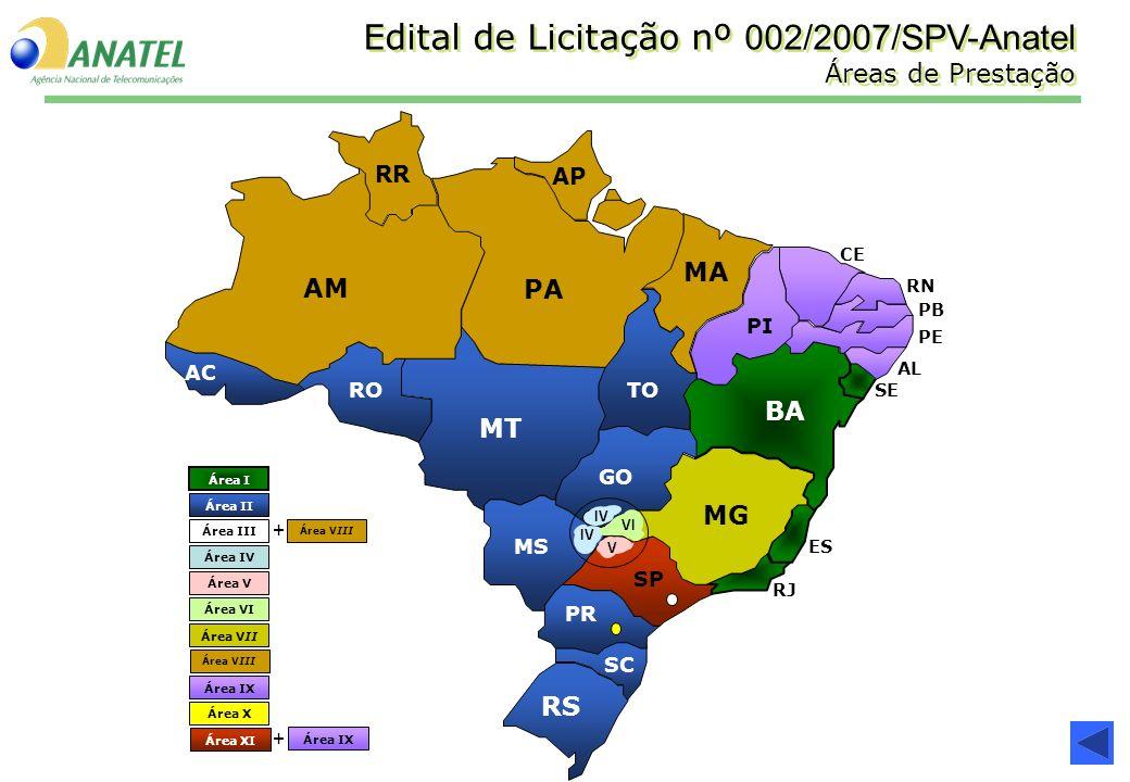Edital de Licitação nº 002/2007/SPV-Anatel Áreas de Prestação