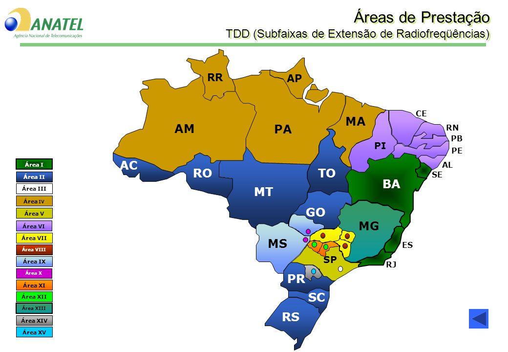 Áreas de Prestação TDD (Subfaixas de Extensão de Radiofreqüências)
