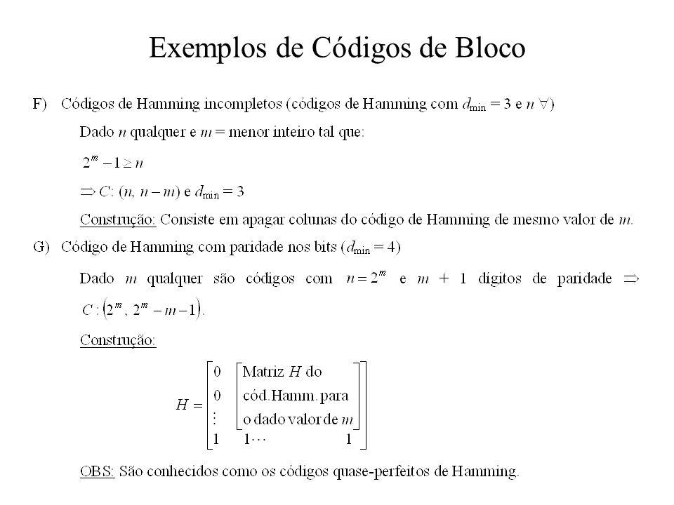 Exemplos de Códigos de Bloco