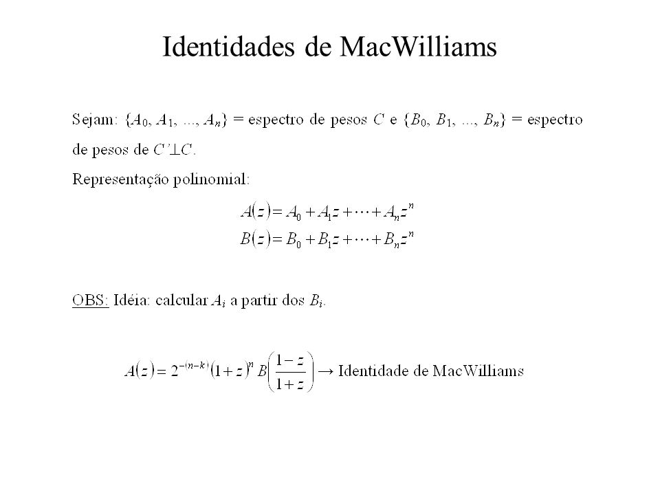 Identidades de MacWilliams