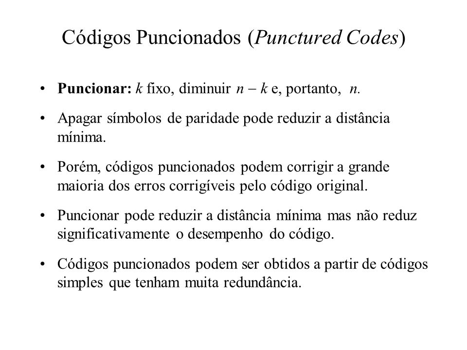 Códigos Puncionados (Punctured Codes)