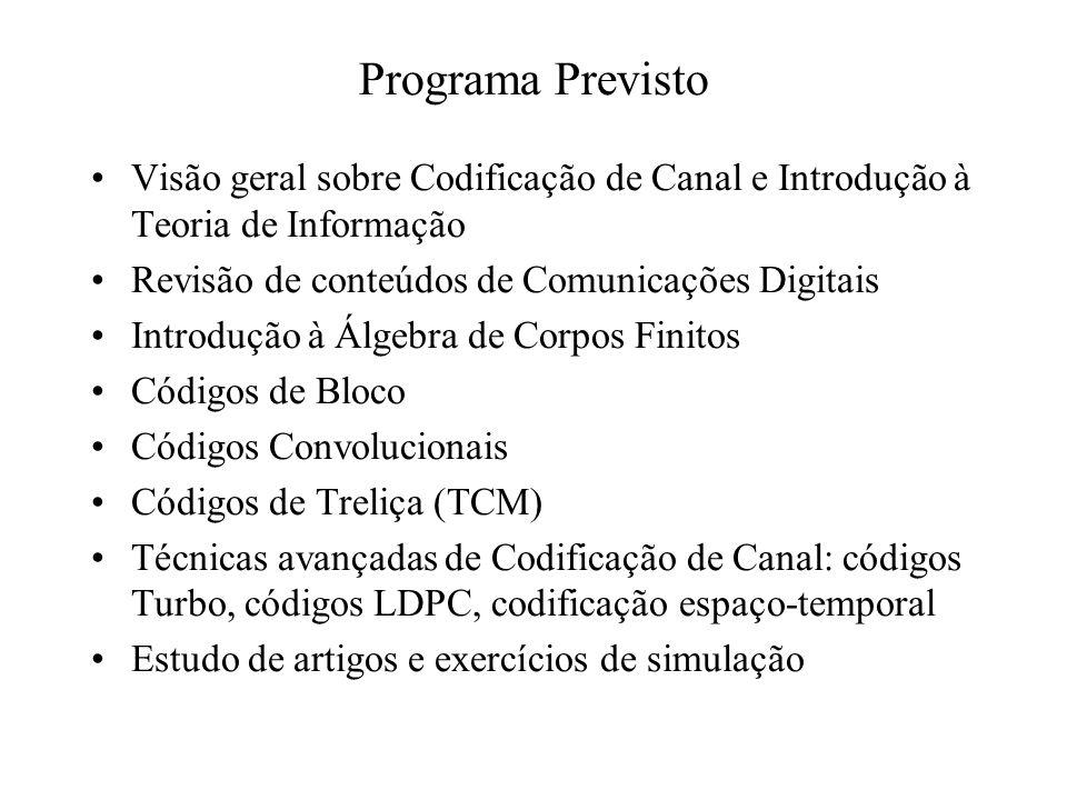 Programa Previsto Visão geral sobre Codificação de Canal e Introdução à Teoria de Informação. Revisão de conteúdos de Comunicações Digitais.