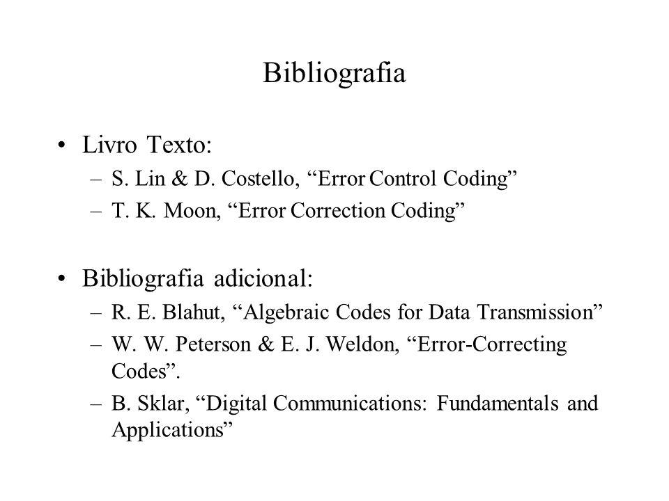 Bibliografia Livro Texto: Bibliografia adicional: