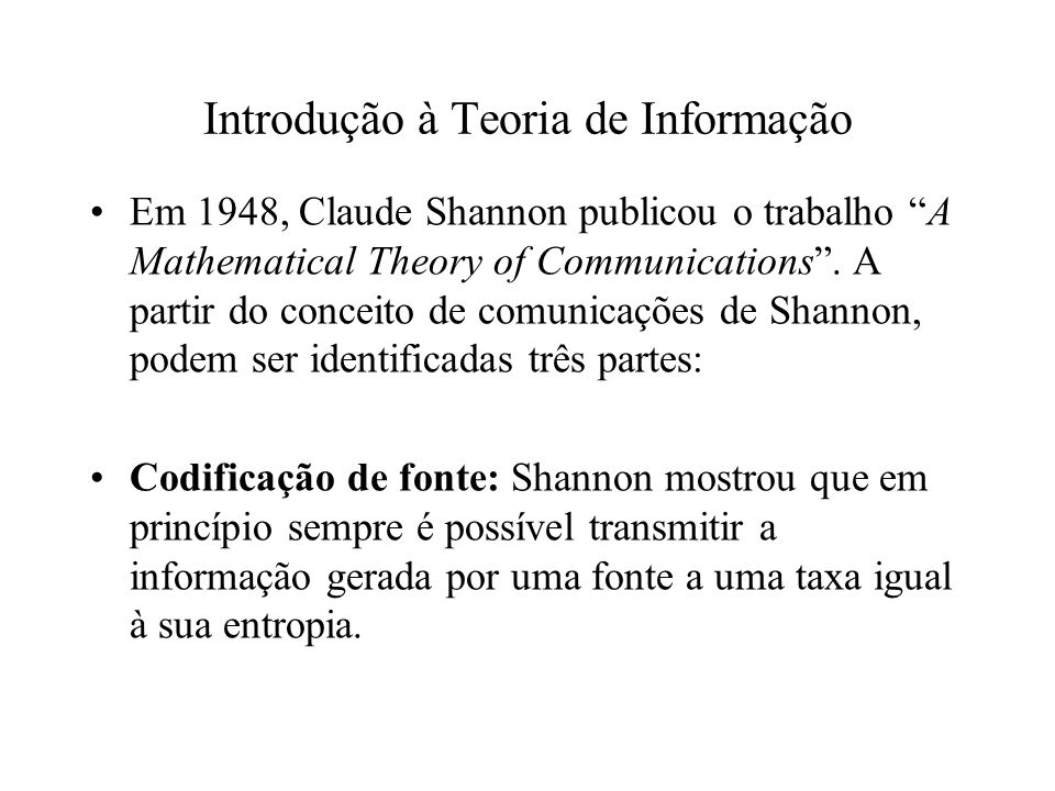 Introdução à Teoria de Informação