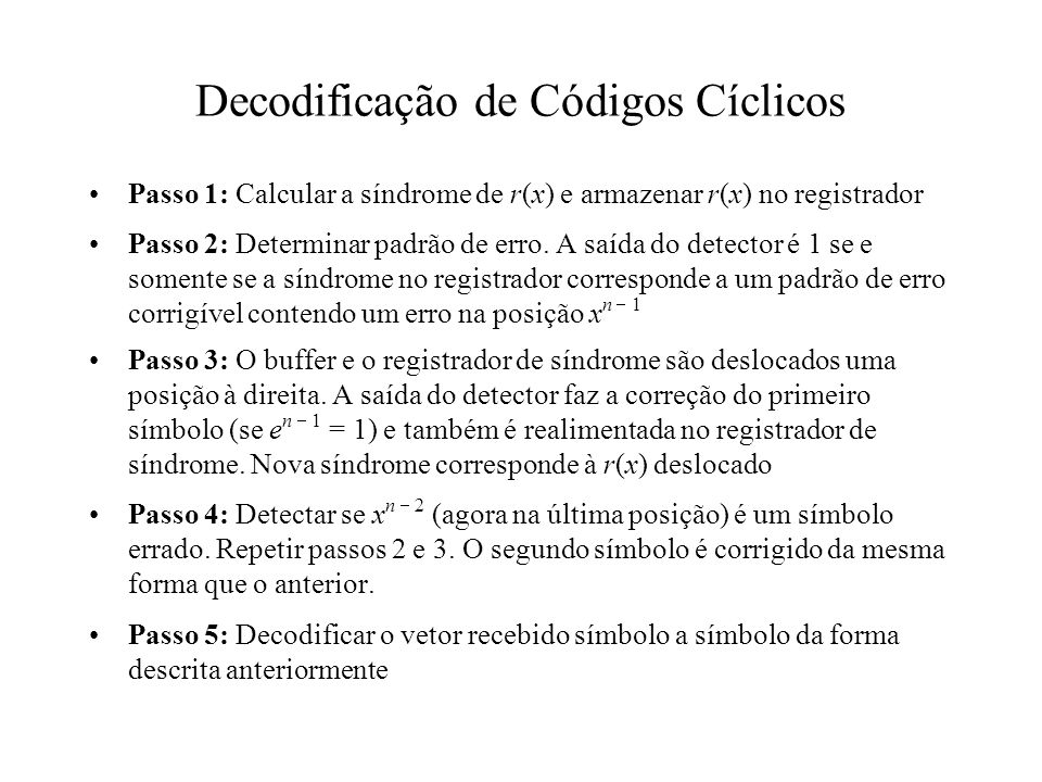Decodificação de Códigos Cíclicos