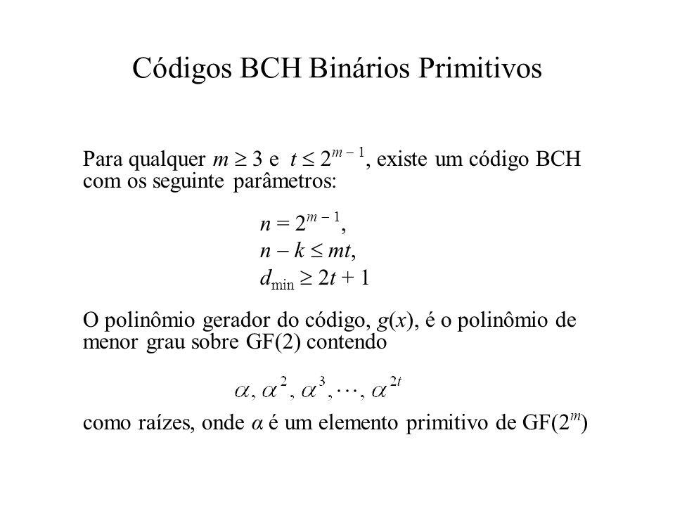 Códigos BCH Binários Primitivos