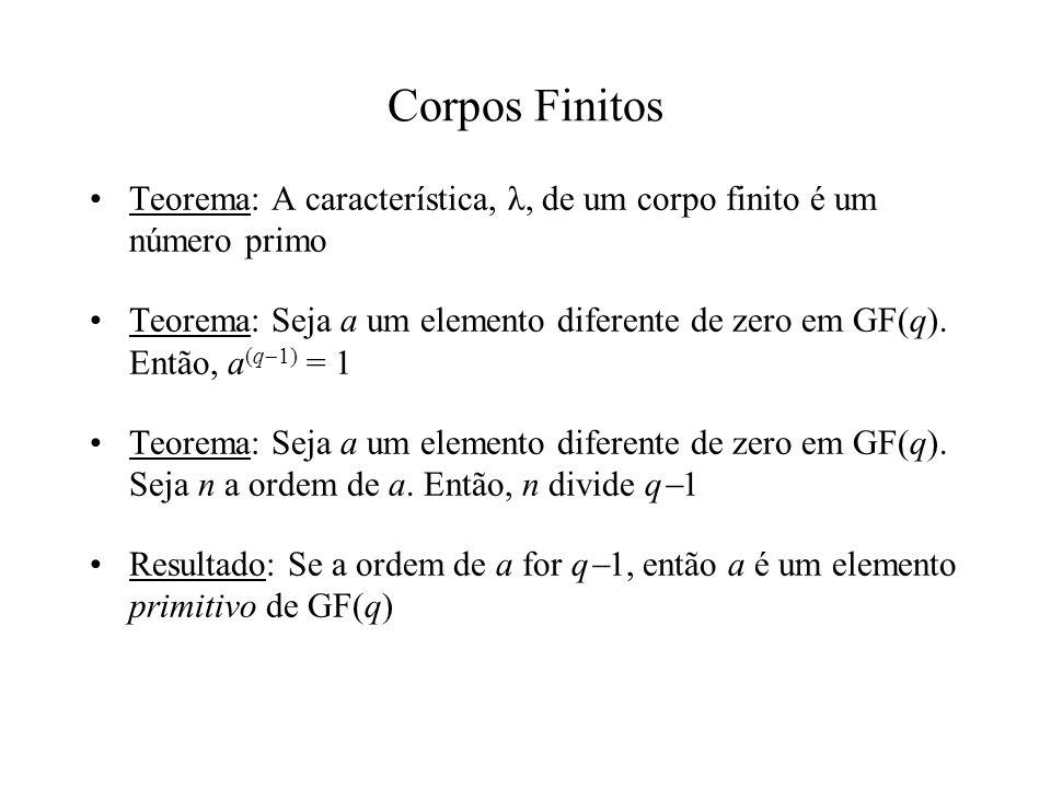 Corpos Finitos Teorema: A característica, λ, de um corpo finito é um número primo.
