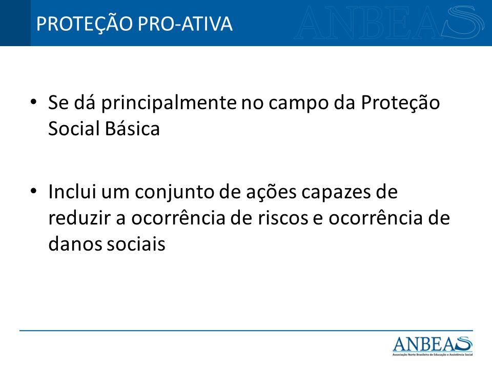 PROTEÇÃO PRO-ATIVA Se dá principalmente no campo da Proteção Social Básica.