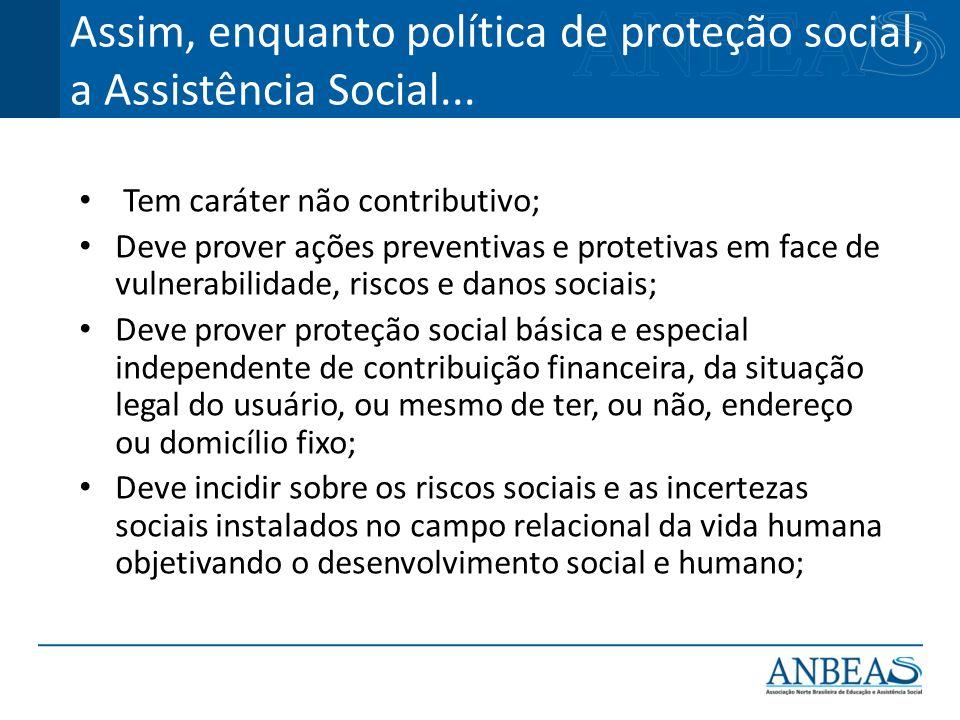 Assim, enquanto política de proteção social, a Assistência Social...