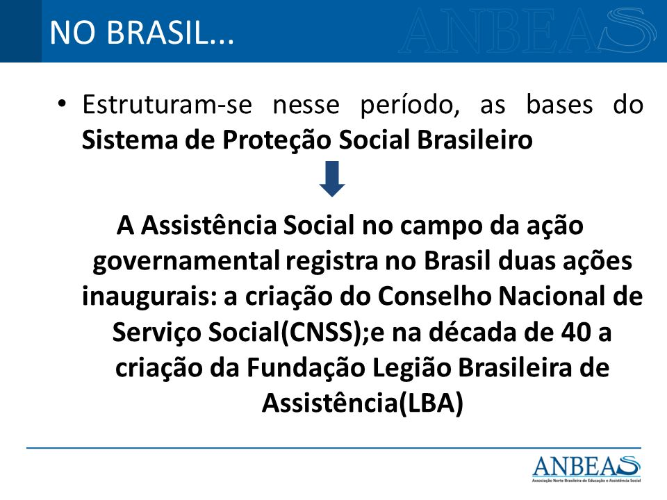 NO BRASIL... Estruturam-se nesse período, as bases do Sistema de Proteção Social Brasileiro.