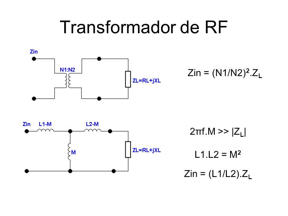 Transformador de RF Zin = (N1/N2)2.ZL 2πf.M >> |ZL| L1.L2 = M2