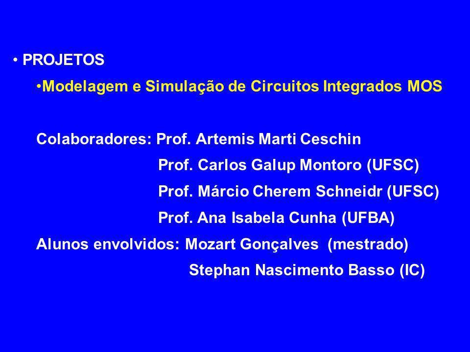PROJETOS Modelagem e Simulação de Circuitos Integrados MOS. Colaboradores: Prof. Artemis Marti Ceschin.