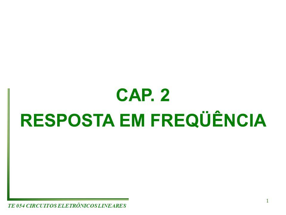 CAP. 2 RESPOSTA EM FREQÜÊNCIA TE 054 CIRCUITOS ELETRÔNICOS LINEARES