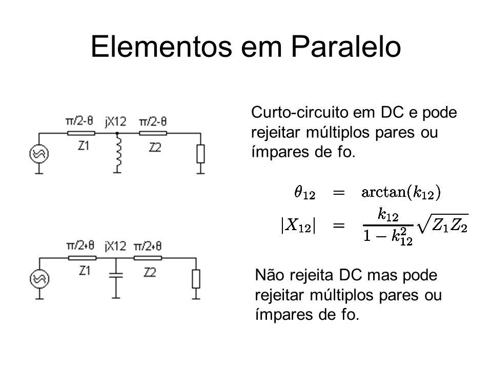 Elementos em Paralelo Curto-circuito em DC e pode rejeitar múltiplos pares ou ímpares de fo.