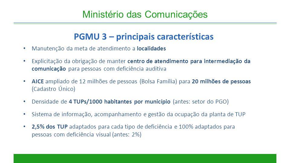 PGMU 3 – principais características