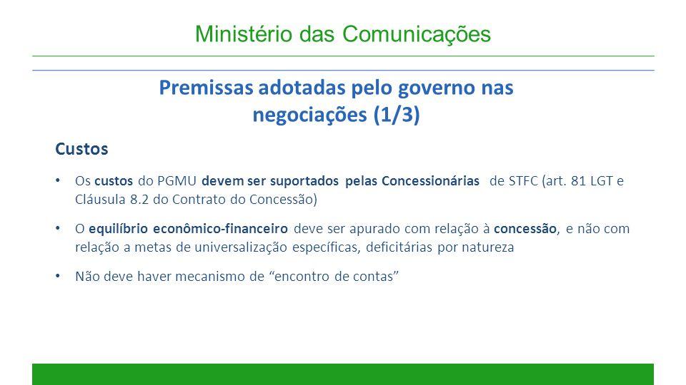 Premissas adotadas pelo governo nas negociações (1/3)