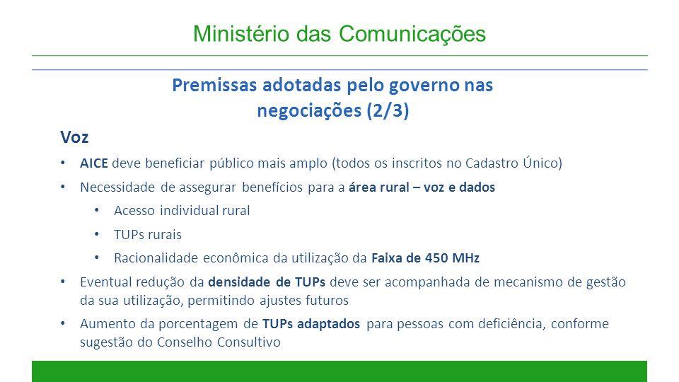 Premissas adotadas pelo governo nas negociações (2/3)