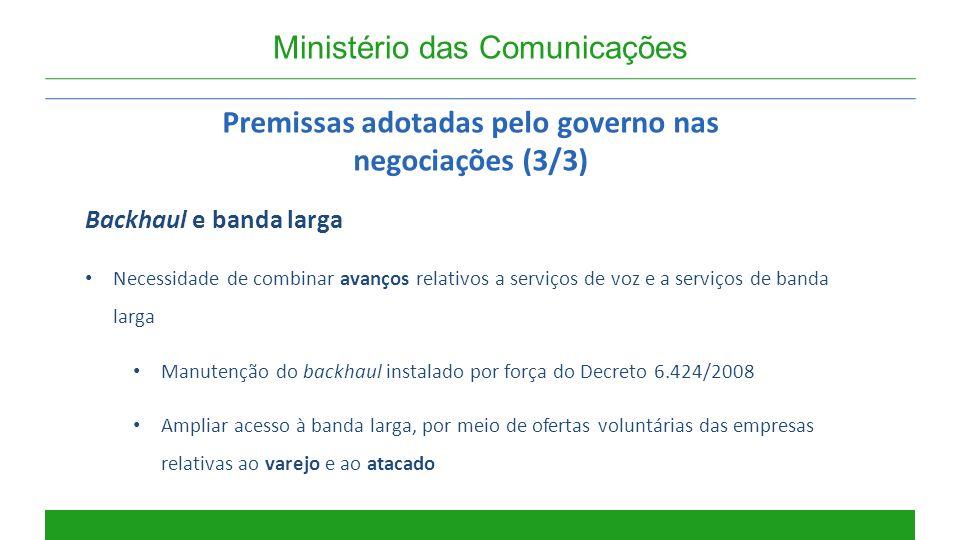Premissas adotadas pelo governo nas negociações (3/3)