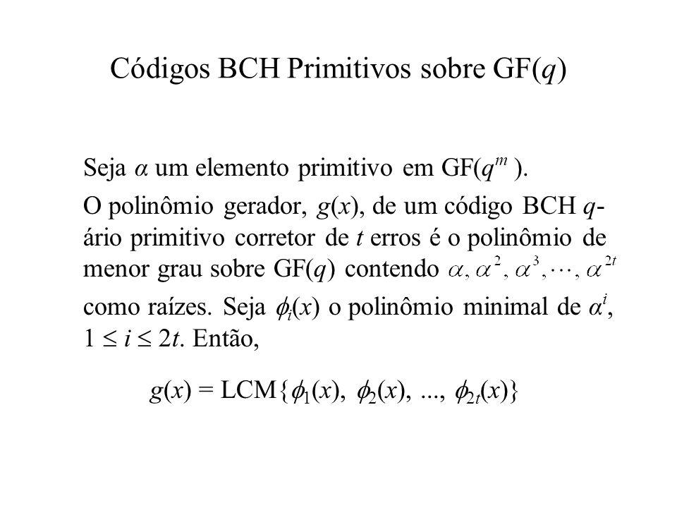 Códigos BCH Primitivos sobre GF(q)