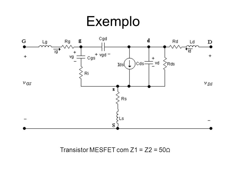 Exemplo Transistor MESFET com Z1 = Z2 = 50Ω