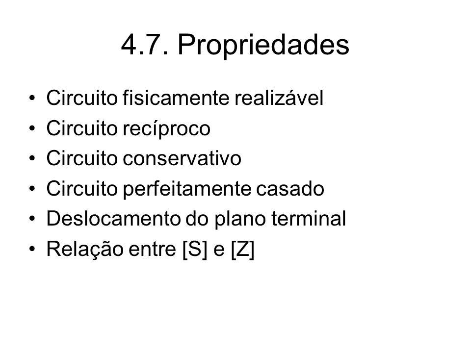 4.7. Propriedades Circuito fisicamente realizável Circuito recíproco