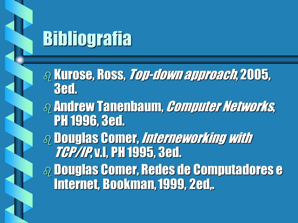 Bibliografia Kurose, Ross, Top-down approach, 2005, 3ed.