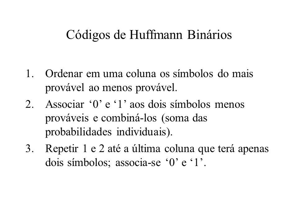 Códigos de Huffmann Binários