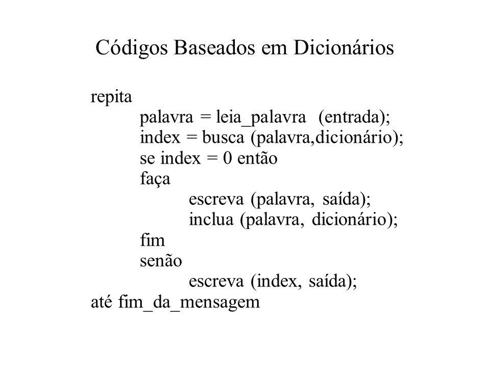 Códigos Baseados em Dicionários
