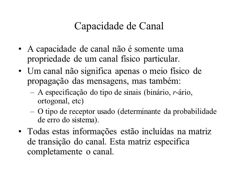 Capacidade de CanalA capacidade de canal não é somente uma propriedade de um canal físico particular.