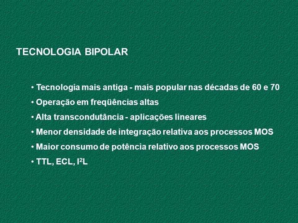 TECNOLOGIA BIPOLAR Tecnologia mais antiga - mais popular nas décadas de 60 e 70. Operação em freqüências altas.