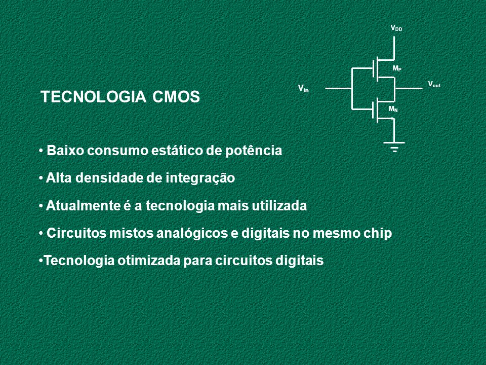 TECNOLOGIA CMOS Baixo consumo estático de potência
