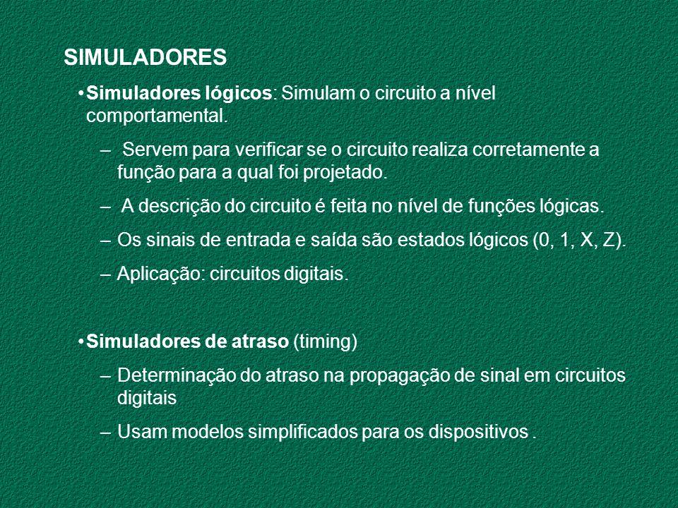SIMULADORESSimuladores lógicos: Simulam o circuito a nível comportamental.