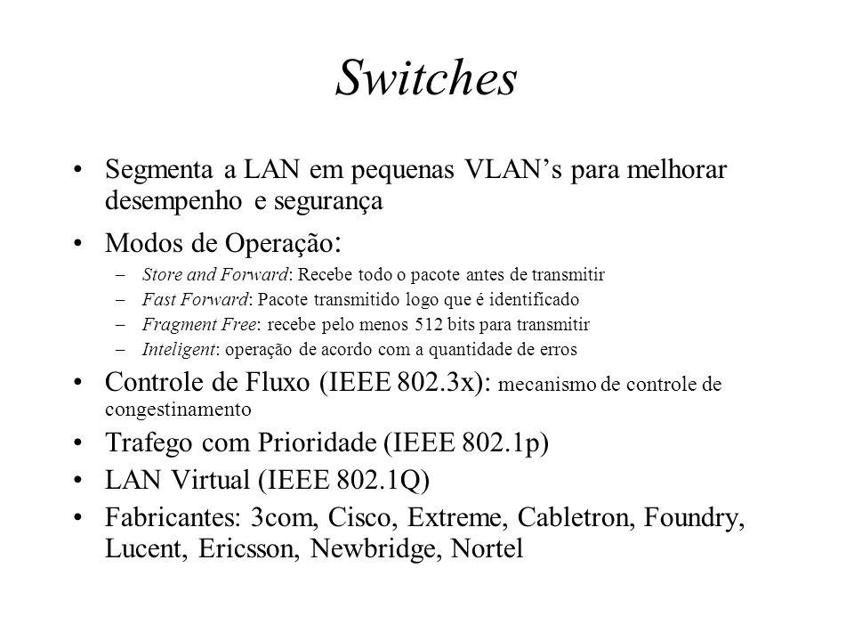 Switches Segmenta a LAN em pequenas VLAN's para melhorar desempenho e segurança. Modos de Operação: