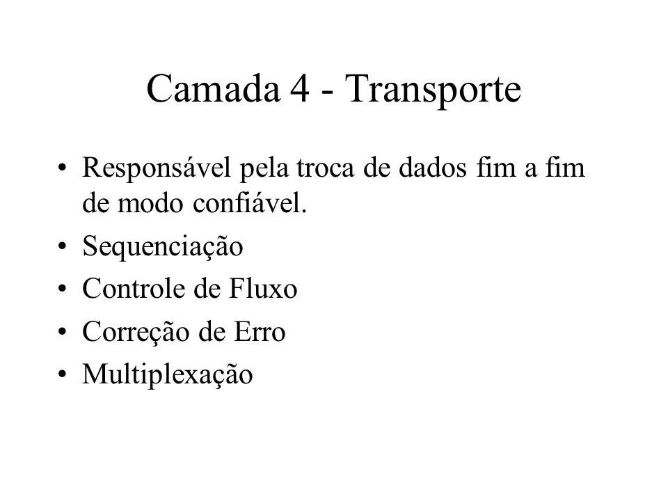 Camada 4 - TransporteResponsável pela troca de dados fim a fim de modo confiável. Sequenciação. Controle de Fluxo.