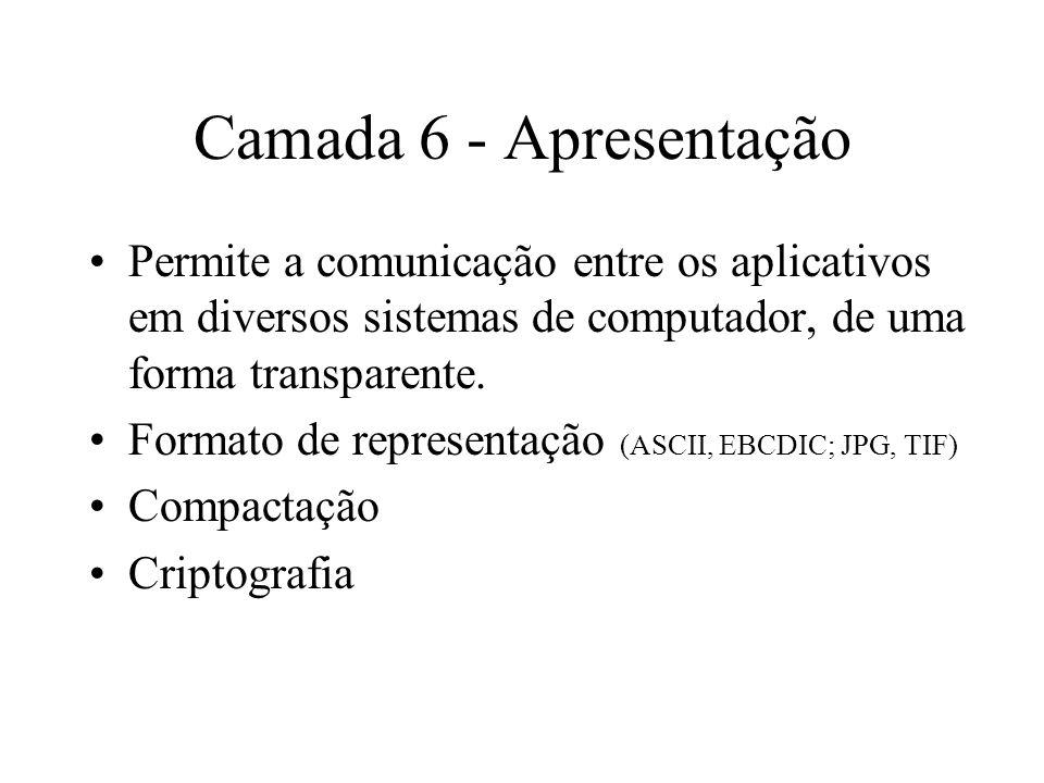 Camada 6 - Apresentação Permite a comunicação entre os aplicativos em diversos sistemas de computador, de uma forma transparente.