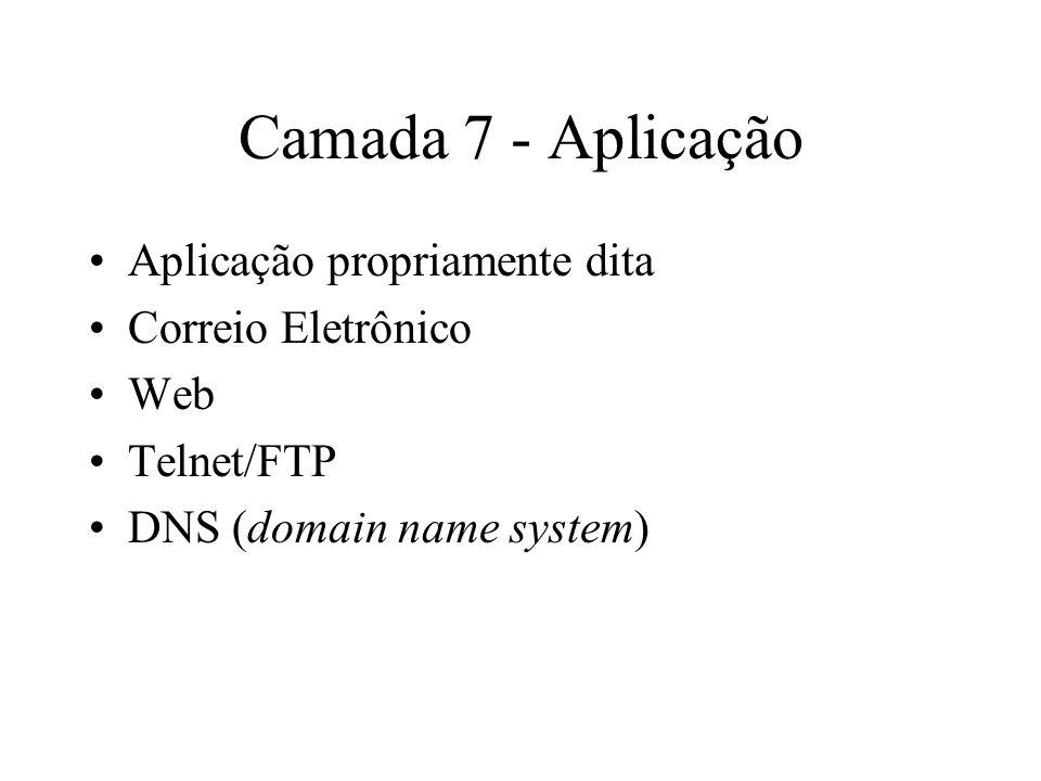 Camada 7 - Aplicação Aplicação propriamente dita Correio Eletrônico