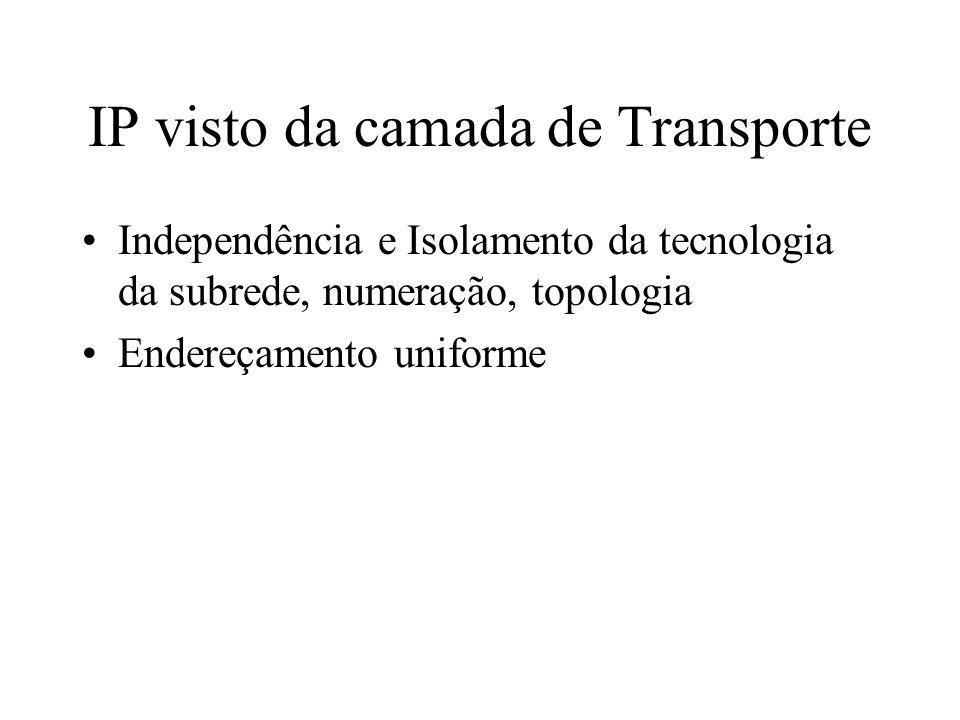IP visto da camada de Transporte